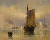 new york harbor, trinity church in the background by charles temple dix