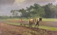 ploughing freeport, li by charles henry miller