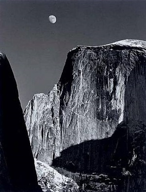 moon and half dome, yosemite by ansel adams