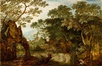 forest landscape with a hunter by roelandt savery
