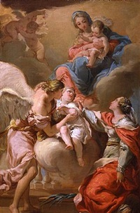 saint giustina and the guardian angel commending the soul of an infant to the madonna and child by gaetano gandolfi