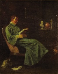 portrait of a man reading by william sidney mount