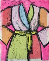 magenta woodcut by jim dine