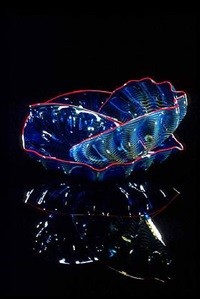 aegean blue seaform set with red rose lip wraps by dale chihuly