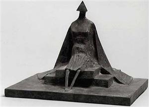 sitting woman in robe iii by lynn chadwick