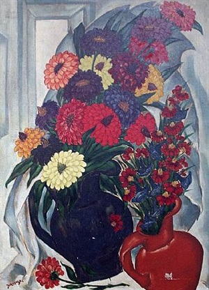 large still life of flowers by henri burkhard