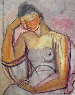 seated and pensive nude woman, circa 1920's by john edmond cluysenaar