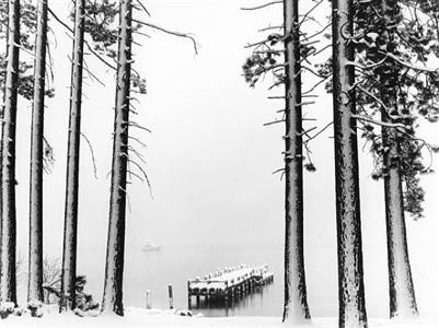 snow storm, lake tahoe, california by robert dawson
