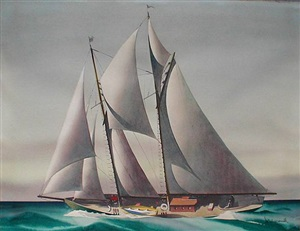 sailing yacht on an open sea, circa 1930's by sandor bernath