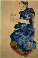 girl in blue apron by egon schiele