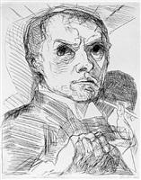 self-portrait with stylus (selbstbildnis mit griffel) by max beckmann