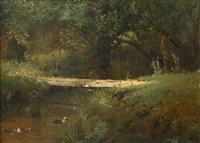 forest river (sold) by konstantin egorovich makovsky