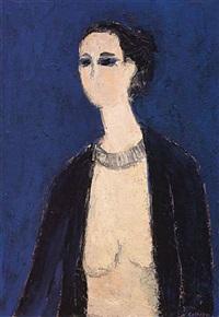 christine nue au collier by bernard cathelin