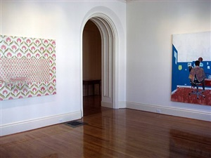 "installation view of ""mirror"" and ""peter's series: back"" by hurvin anderson"