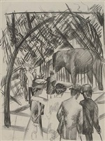 beim elefanten (visiting the elephants) by august macke