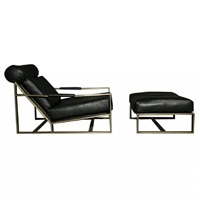 leather and bronze lounge chair and ottoman by milo baughman