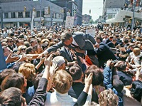 robert kennedy surfing the crowd in a mid-west city after entering the 1968 presidential campaignpigment print by bill eppridge