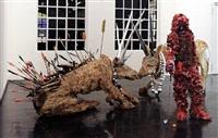 golfspieler und 2 hirschkühe by carl emanuel wolff
