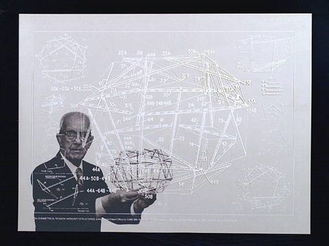 non-symmetrical tension-integrity structure from the portfolio inventions: twelve around one by buckminster fuller