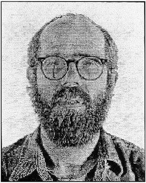 self-portrait-white ink by chuck close