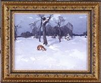 winter landscape with a fox by stepan feodorovich kolesnikov