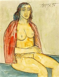 seated nude with red shawl by francis newton souza