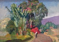 near holuala, hawaii (figure on path) by eugene francis savage