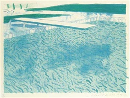 lithograph of water made of lines with two light blue washes (t.206) by david hockney