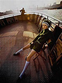 twiggy, staten island ferry, new york by melvin sokolsky
