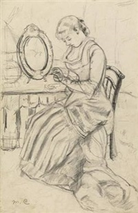 "drawing for ""at the dressing table"" by mary cassatt"