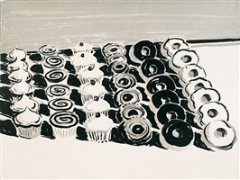 dark cupcakes and donuts by wayne thiebaud
