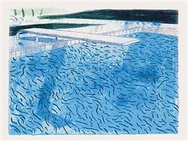 lithograph of water made of thick and thin lines and a light blue and a dark blue wash (t.208) by david hockney