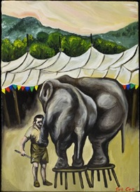 two elephants standing on stools by sue coe
