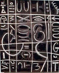 black and white on pressed wood by adolph gottlieb