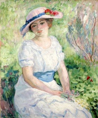 jeune fille à la ceinture bleue / young girl with blue belt by henri lebasque