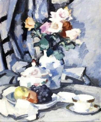 still life with roses and fruit by samuel john peploe