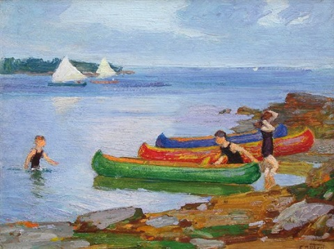 canoeing by edward henry potthast