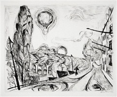 landscape with balloon (landschaft mit ballon) by max beckmann