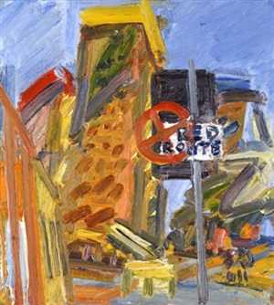 tower blocks, hampstead road ii by frank auerbach