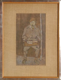 man with mustache by joseph solman