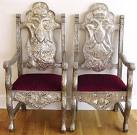 pair of repoussé chairs by unknown