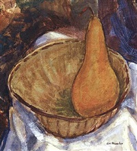 bowl with pear: still life, circa late 1920's by alfred henry maurer