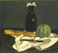 melon, flacon, couteau et pain sur une nappe by andré derain