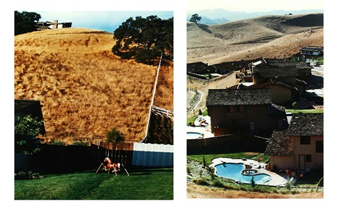hillside with toy house and backyard with pool 2 works by bill owens