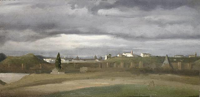 vue de monte testaccio by jean-baptiste-camille corot
