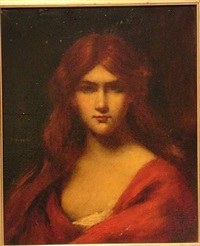 bust of a young woman wearing a red dress by jean jacques henner