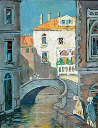 figures along a venetian canal, summer by jane peterson
