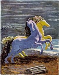 cavalli sulla spiaggia by giorgio de chirico