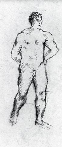 stehender männlicher akt, die arme an den rücken gelegt by hermann blumenthal