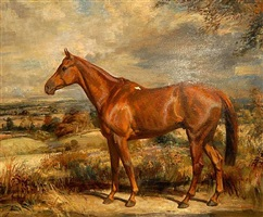 chestnut horse in autumnal setting by thomas sherwood la fontaine